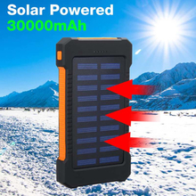 Top 30000mah Solar Power Bank Waterproof Solar Charger 2 Usb Ports Travel External Charger Powerbank With Compasses LED Light
