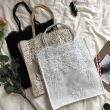 Lace Women's Shoulder Bag Fashion Retro Embroidery Hollow Straw Bag Leisure Big Capacity Beach Tote Handbag