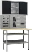 vidaXL Arbetsbänk med 3 väggpaneler och ett skåp