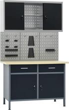 vidaXL Arbetsbänk med tre väggpaneler och ett skåp