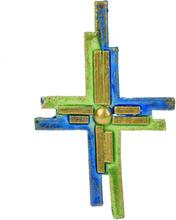 Vaxdekorationer - GrönBlått kors (110x63 mm)