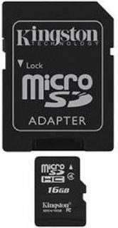 16GB class 4 Kingston (MicroSDHC med SDHC adapter) - Minneskort