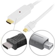 mini DisplayPort til HDMI-skjermkabel med lyd, 20-pin output - 19-pin output, 2m, hvit
