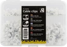 Kabelklammer i plast med stålspik, 4 storlekar, 230-pack