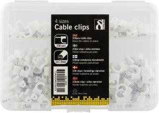 Kabel stifter i plast med stål spiker, 4 størrelser, 230-Pack