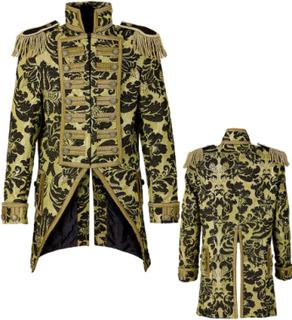 Svart og Gullfarget Mønstret Tailcooat Luksusjakke til Dame
