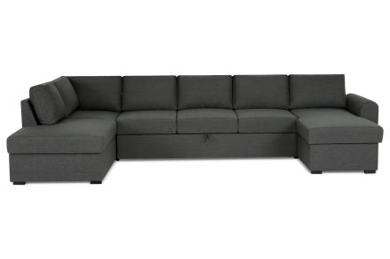 New York Bäddsoffa Mörkgrå - U-soffa XL Vänster Plymåer