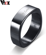 Vnox Free Engraving Name Stylish Square Shape Ring for Men Customized Info Personalized Male Jewelry Stainless Steel #9 10 11 12