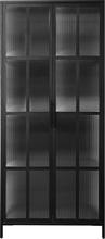 Reese vitrineskab i sort stål med 2 glaslåger
