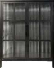 Reese skænk/vitrineskab i sort stål med 2 glaslåger