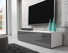BOSTON TV-stall TV-Bank 150 cm matt ram Vit / Framsida Gra Hogglans