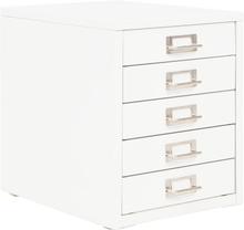 vidaXL Arkivskåp med 5 lådor metall 28x35x35 cm vit