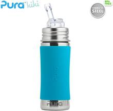 Pura Kiki Trinkflasche 325ml - Strohhalm Aufsatz (inkl. Schutzkappe) - Blau