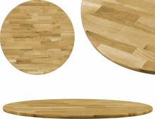 vidaXL bordplade i massivt egetræ rundt 23 mm 500 mm