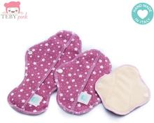 Teby Pink - Damenbinden (Bio-Baumwoll-Velour) - Tag (Midi / Medium) - Sterne