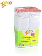XKKO - Prefolds - 100% Baumwolle - 6 Stück - versch. Größen - Weiß Medium (roter Saum) - 35,5x40,5 cm (5-11 kg)