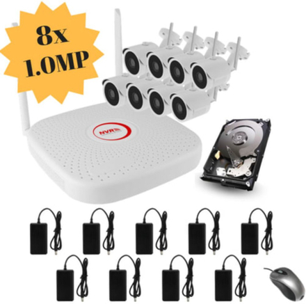 CCTV-reseller Stort övervakningssystem i Wifi med 8 st ip-kameror i 1.0 Megapixel