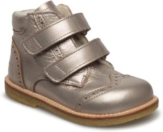 Boots - Flat - With Velcro Snørestøvletter Støvletter Gull ANGULUS