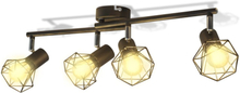 vidaXL Taklampa industri-design spotlights med 4 LED-glödlampor svart