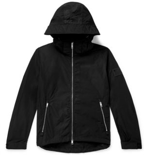 Loqo-appliquéd Shell Hooded Jacket - Black