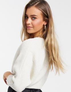 Miss Selfridge - Lys beige løstsiddende trøje-Hvid