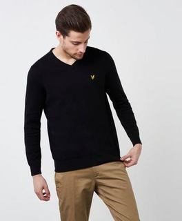 Lyle & Scott V - Neck Merino Svart