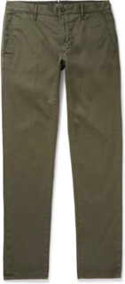 Slim-fit Stretch-cotton Twill Trousers - Green