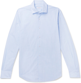 Fellini Slim-fit End-on-end Cotton Shirt - Blue
