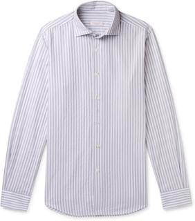 Fellini Slim-fit Striped Cotton Shirt - Gray