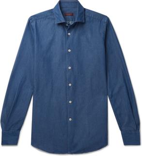 Fellini Slim-fit Cotton-chambray Shirt - Blue