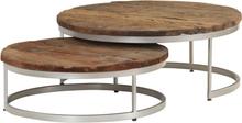 vidaXL Soffbord set 2 st massivt sliperträ och stål