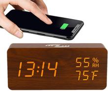 Not specified Digital LED väckarklocka med trådlös laddare - brun