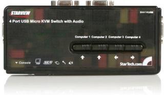 Svart USB KVM-switch-paket med 4 portar, kablar och audio