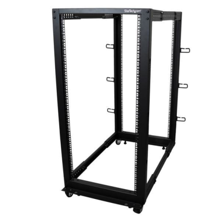 25U serverhylla med justerbart djup, öppen ram, 4 stolpar, hjul/nivåfötter och kabelhanteringskrokar