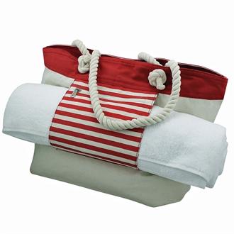 Strandtaske rød/beige