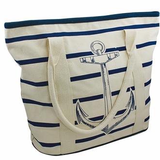 Strandtaske beige/blå