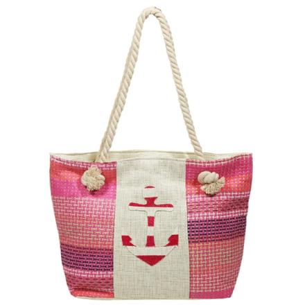Strandtaske 45x30 cm bred stribet pink