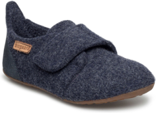 Home Shoe - Wool Velcro Slippers Inneskor Blå BISGAARD