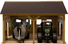 Maskinhall leksaksbyggnad för Bruder traktorer och redskap Kids Globe 1:16