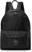 Versace - Logo-appliquéd Leather-trimmed Shell Backpack - Black