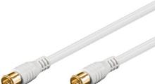 Antennkabel med F-kontakter ha-ha, snabbkontakt, vit 5 meter