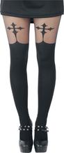 Pamela Mann - Goth Cross Suspender -Tights - svart