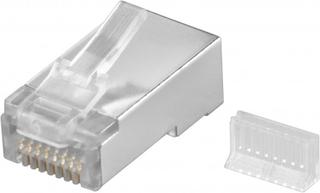 RJ45 kontakt, skärmad, med kabelledare, 10-pack