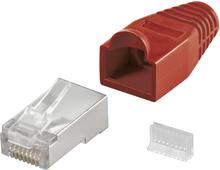 RJ45 kontakt, skärmad, med rött böjskydd, 10-pack