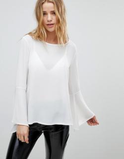 Boohoo basic flute sleeve blouse - Ivory