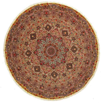 Tabriz 70 Raj silkerenning teppe Ø 400 Persisk, Rund Teppe