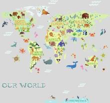 RoomMates Wallsticker Kids World Map