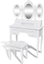 vidaXL Sminkbord med pall och 3 speglar vit