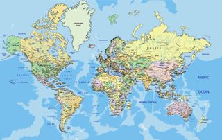 Fototapet Världskarta