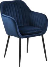 Mila - Blå velour stol med armlæn